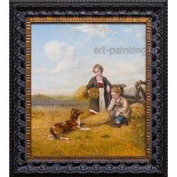 "Картина маслом ""Ребёнок, мама и собака"" Таршиш"