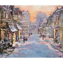 """Картина маслом """"Зима в городе"""" Ларикова"""
