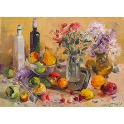 """Картина маслом """"Натюрморт с розами и сиренью"""" Долматов"""