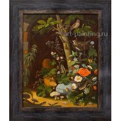"""Картина маслом  """"Натюрморт с белкой, птицами и змеями"""" Леснов"""